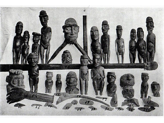 Article Image: Some pieces collected by Walter Knoche in 1911. Knoche led the Meteorological mission organized by the Chilean government and the Universidad de Conception in 1911. In addition to registering information about the climate (winds, rainfall, environmental humidity), he also collected important ethnographic information and objects. Photograph published in Macmillan Brown (1924), The Riddle of the Pacific.